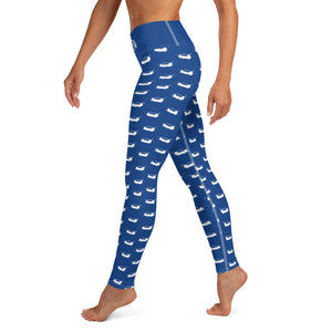 Chinook Helicopter Pattern Blue Yoga Leggings for Women by Ruck & Rotor