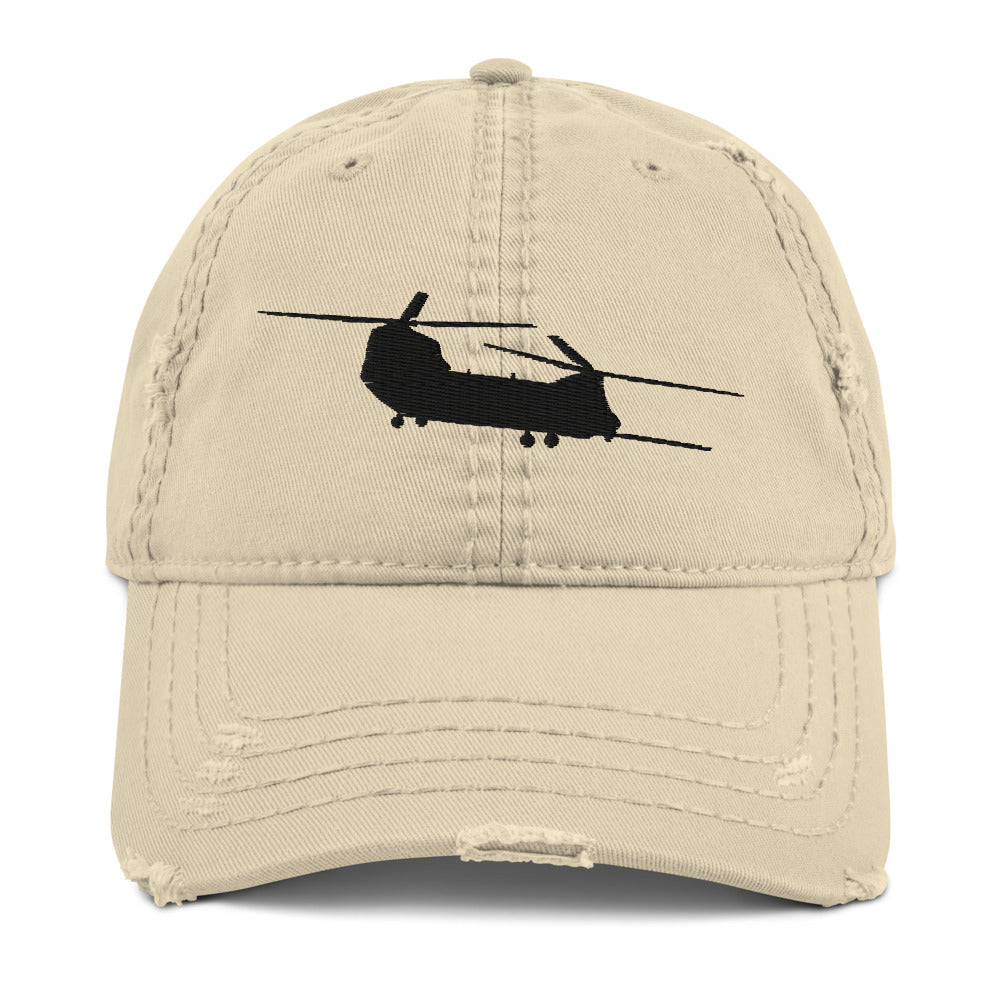 MH-47 Embroidered Distressed Hat, Khaki, Charcoal Grey or Navy by Ruck & Rotor