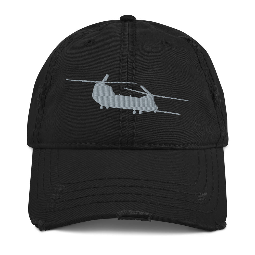 MH-47 Embroidered Distressed Hat, Black by Ruck & Rotor