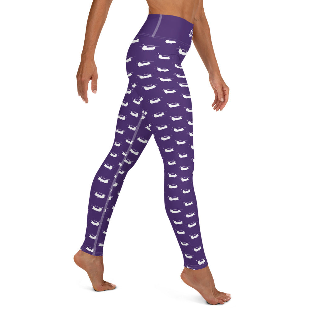 Chinook Helicopter Pattern Purple Yoga Leggings for Women by Ruck & Rotor