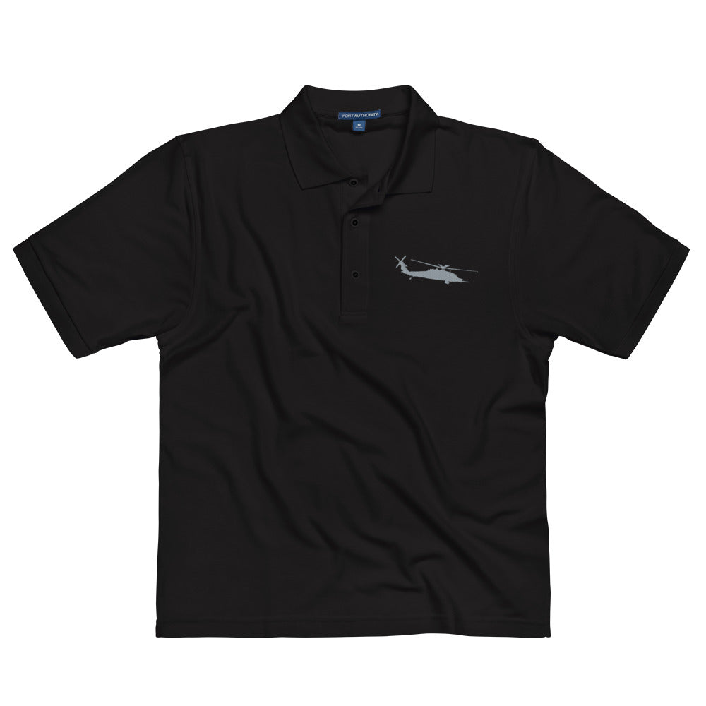 MH-60 Black Hawk Helicopter Embroidered Men's Premium Polo by Ruck & Rotor