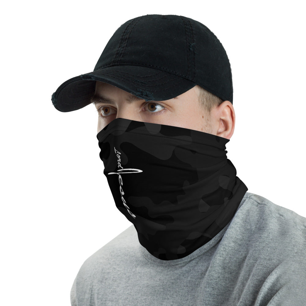 """Lord Jesus"" Black Camo Neck Gaiter Face Mask by Ruck & Rotor"