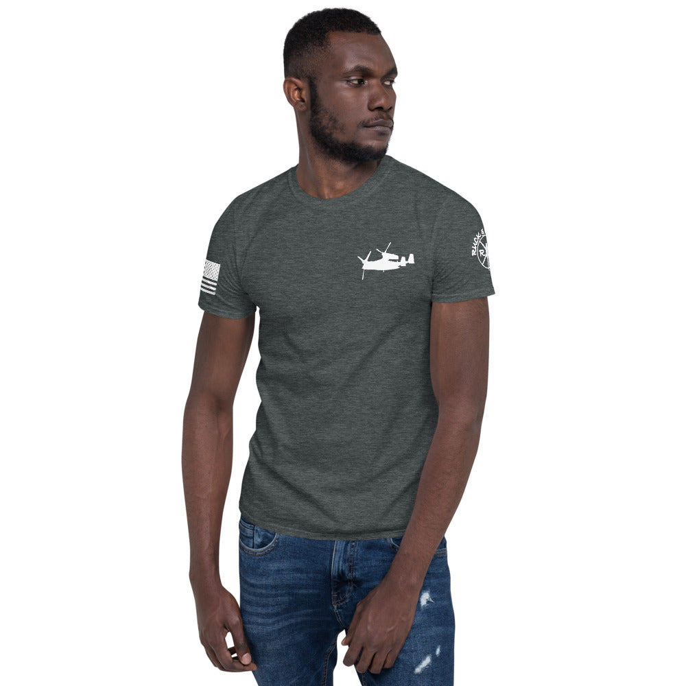 """Crew Chief"" V-22 Short-Sleeve Unisex T-Shirt by Ruck & Rotor"