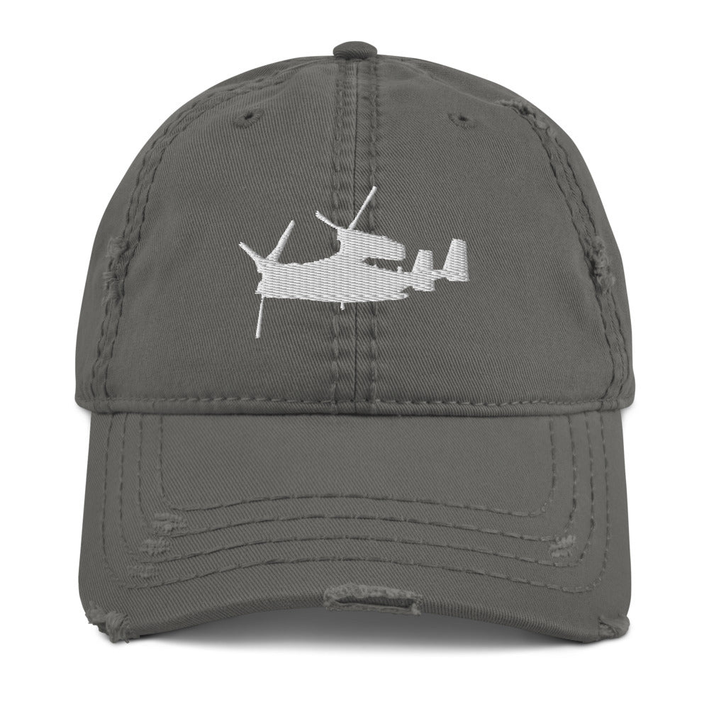 V-22 Osprey Embroidered Distressed Hat by Ruck & Rotor white embroidery