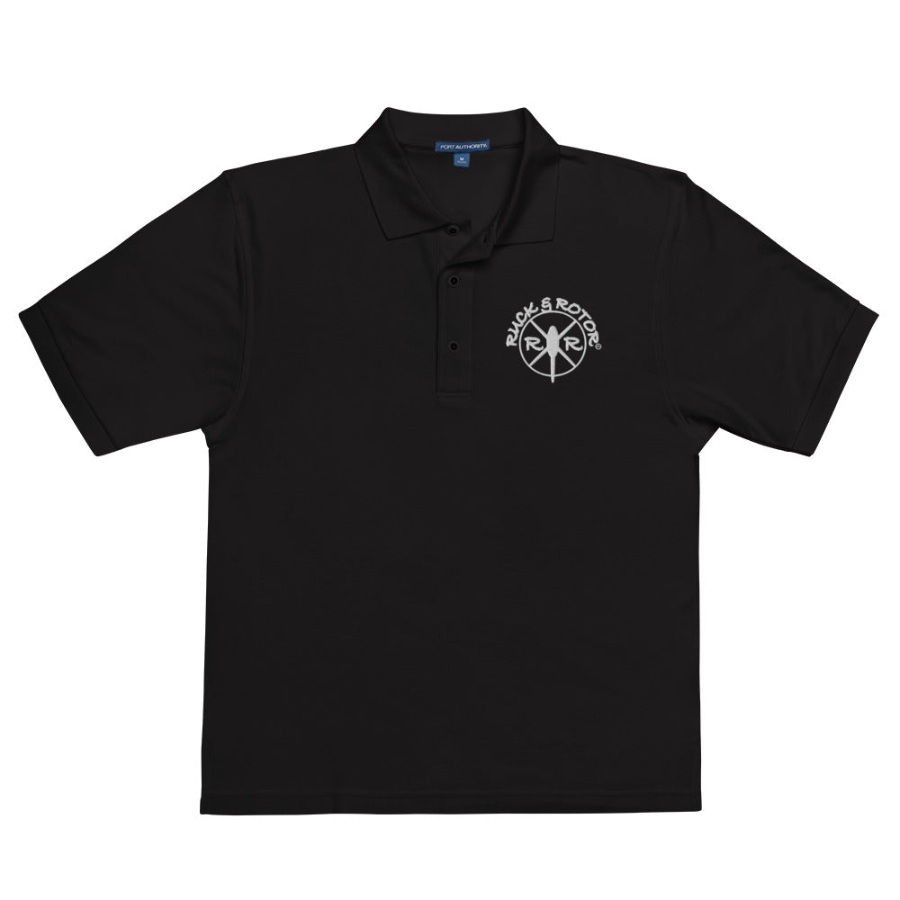 Embroidered Men's Premium Poly-blend Black Polo Shirt by Ruck & Rotor