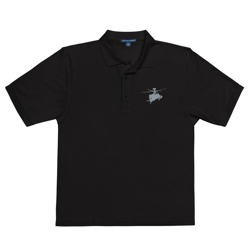 AH-64 Apache Helicopter Embroidered Men's Premium Polo by Ruck & Rotor