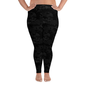 Women's Black Camo Plus Size Leggings by Ruck & Rotor