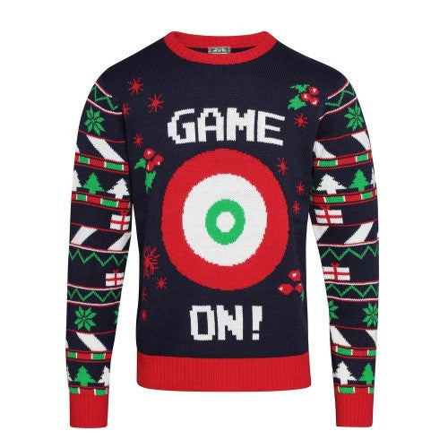 Front - Christmas Shop Herren 3D-Weihnachtspullover Game On