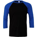 Schwarz-Royal - Front - Canvas Herren Baseball T-Shirt, 3-4-Ärmel