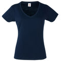 Dunkles Marineblau - Front - Fruit Of The Loom Lady-Fit Valueweight Damen T-Shirt, V-Ausschnitt