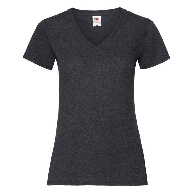 Dunkelgrau Meliert - Back - Fruit Of The Loom Lady-Fit Valueweight Damen T-Shirt, V-Ausschnitt