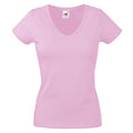 Rosa - Front - Fruit Of The Loom Lady-Fit Valueweight Damen T-Shirt, V-Ausschnitt