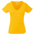 Sonnenblumengelb - Front - Fruit Of The Loom Lady-Fit Valueweight Damen T-Shirt, V-Ausschnitt