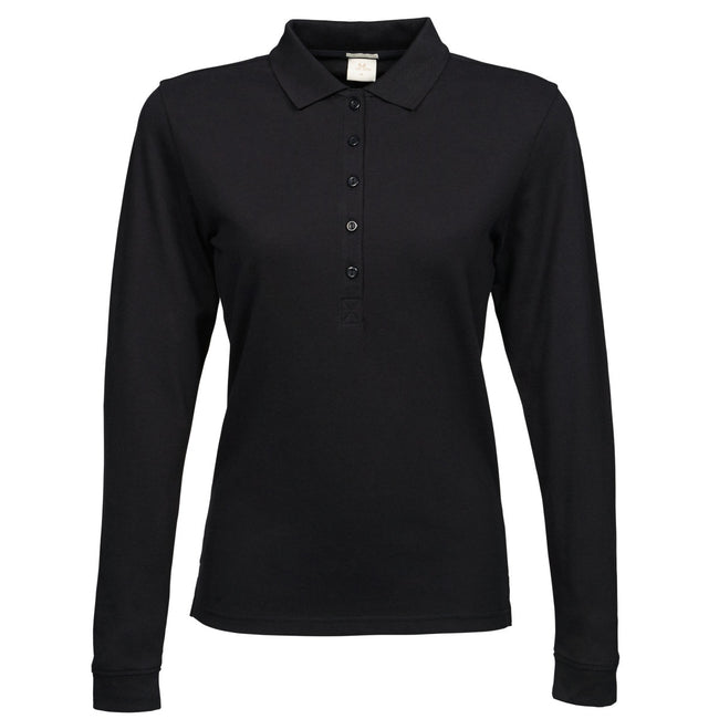 Schwarz - Front - Tee Jays Damen Luxury Stretch Longsleeve - Polo-Shirt, Langarm