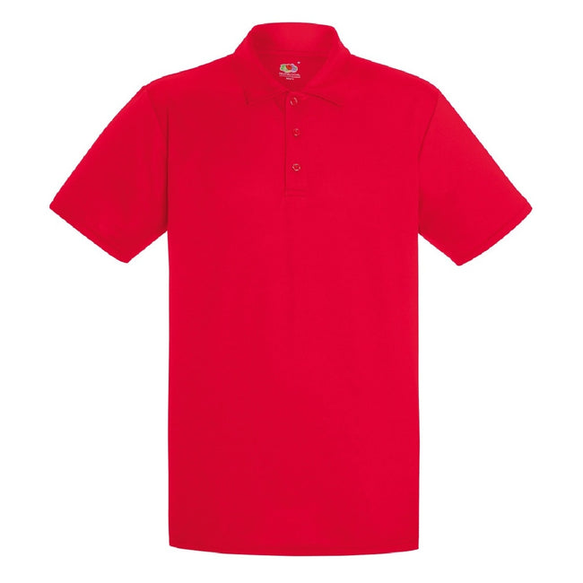 Rot - Front - Fruit Of The Loom Herren Polo-Hemd, kurzärmlig