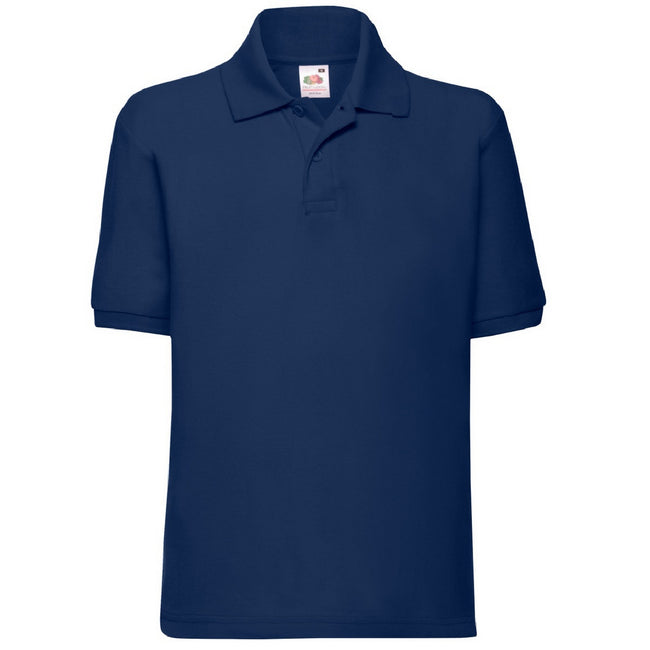 Marineblau - Front - Fruit of the Loom Kinder Polo Shirt, Kurzarm