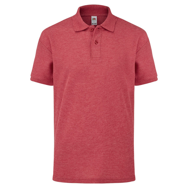 Rot meliert - Front - Fruit of the Loom Kinder Polo Shirt, Kurzarm