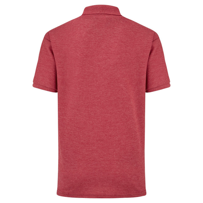 Rot meliert - Back - Fruit of the Loom Kinder Polo Shirt, Kurzarm