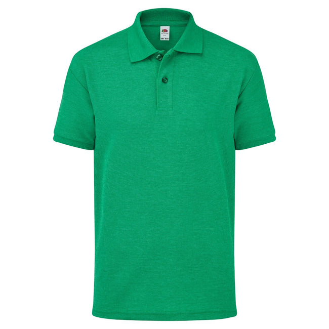 Grün meliert - Front - Fruit of the Loom Kinder Polo Shirt, Kurzarm