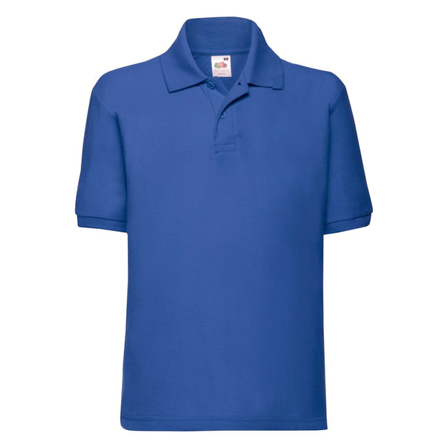 Royalblau - Front - Fruit of the Loom Kinder Polo Shirt, Kurzarm