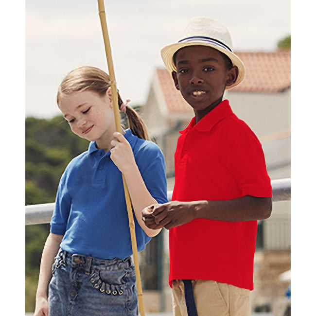 Rot - Back - Fruit of the Loom Kinder Polo Shirt, Kurzarm