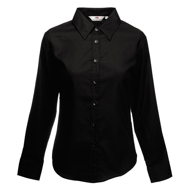 Oxford Blau - Side - Fruit Of The Loom Lady-Fit Oxford Bluse, Langarm