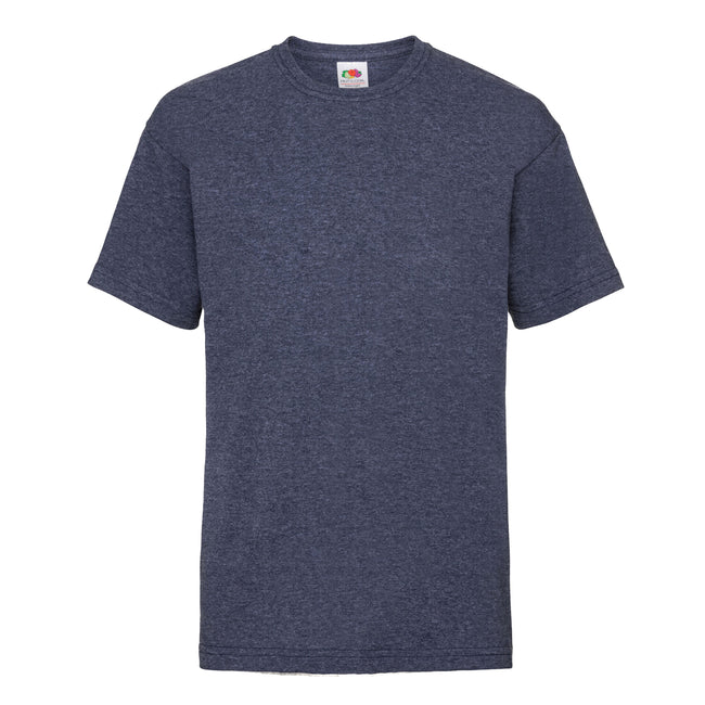 Vintage Navy meliert - Front - Fruit of the Loom Kinder Unisex T-Shirt, kurzärmlig (2 Stück-Packung)
