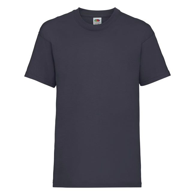 Dunkles Marineblau - Front - Fruit of the Loom Kinder Unisex T-Shirt, kurzärmlig (2 Stück-Packung)