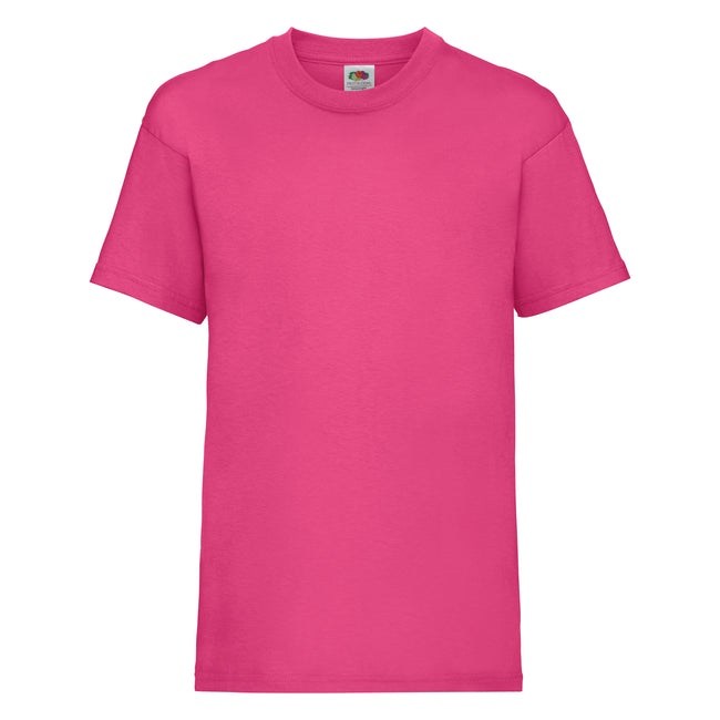 Fuchsia - Front - Fruit of the Loom Kinder Unisex T-Shirt, kurzärmlig (2 Stück-Packung)