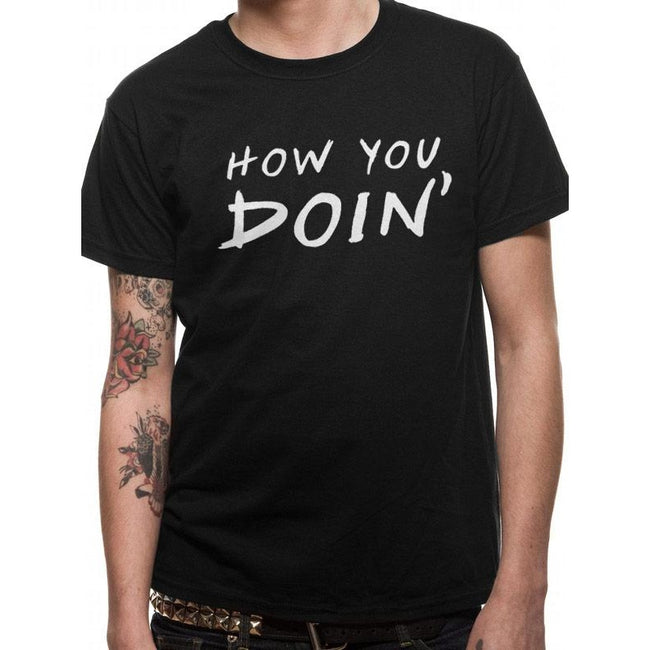 Schwarz - Front - Friends Unisex Adults How You Doin T-Shirt