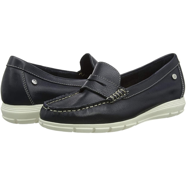 Marineblau - Pack Shot - Hush Puppies Damen Paige Leder Loafer