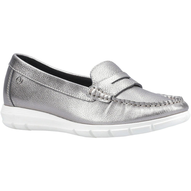 Silber - Front - Hush Puppies Damen Paige Leder Loafer