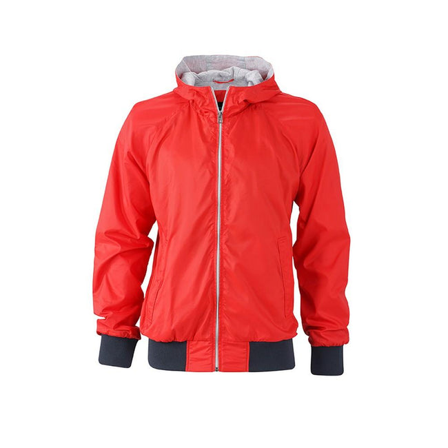 Hellrot-Marineblau - Front - James and Nicholson Herren Sportjacke