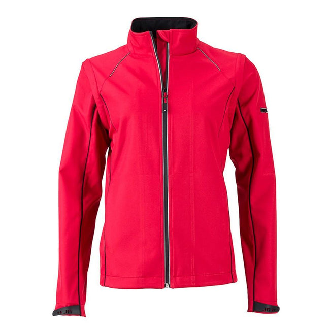 Rot-Schwarz - Front - James and Nicholson Damen Zip-Off-Softshelljacke