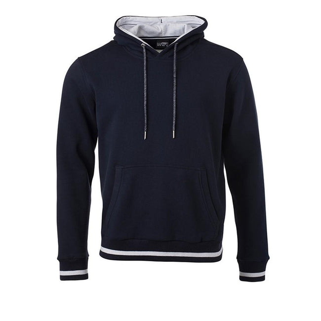 Marineblau-Weiß - Front - James and Nicholson Herren Club-Pullover
