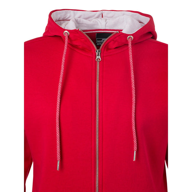 Rot-Weiß - Side - James and Nicholson Damen Sweatjacke