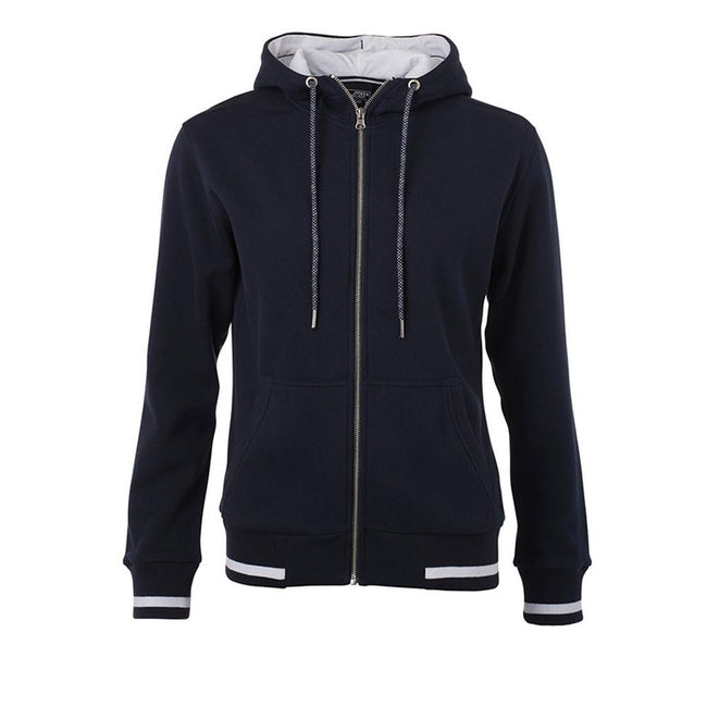 Marineblau-Weiß - Front - James and Nicholson Damen Sweatjacke