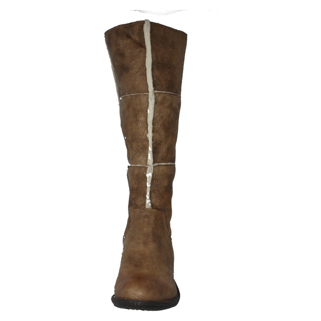 Taupe-Beige - Front - Spot On Damen Stiefel im Used-Look