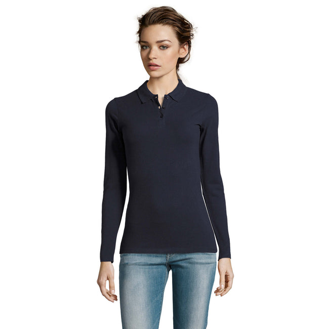 Marineblau - Back - SOLS Damen Pique-Polo-Shirt, langärmlig