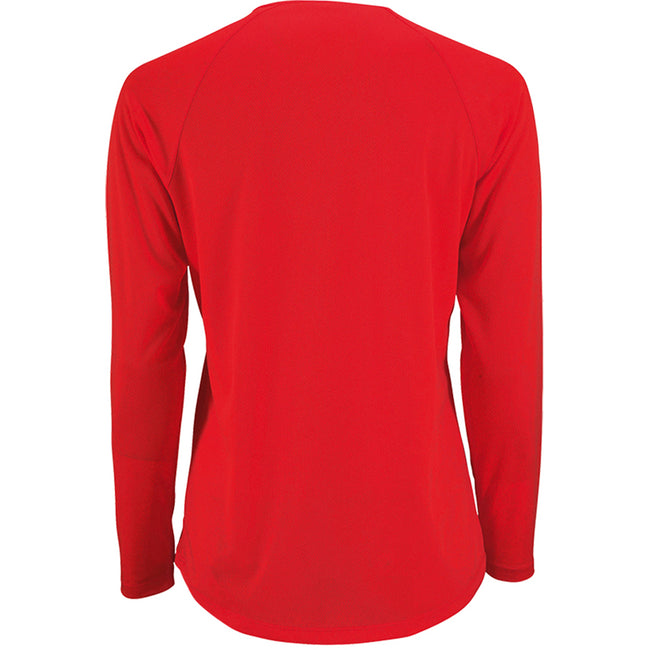 Rot - Back - SOLS Damen Performance T-Shirt Sporty, langärmlig