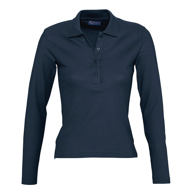 Denim - Front - SOLS Podium Damen Pique Polo-Shirt, Langarm