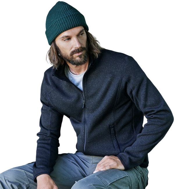 Grau meliert - Front - Tee Jays Herren Strick Outdoor Fleece Jacke