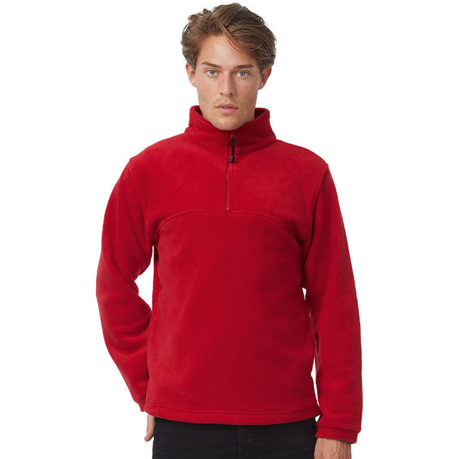 Rot - Back - B&C Herren Fleece Top Higlander+, 1-4 Zip