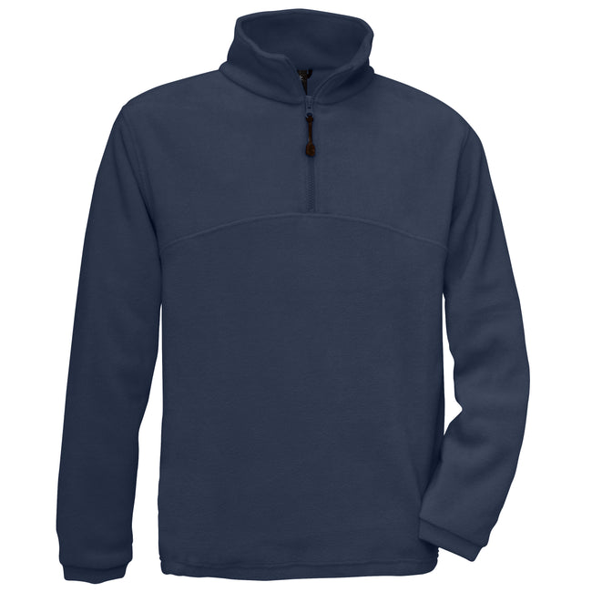 Marineblau - Front - B&C Herren Fleece Top Higlander+, 1-4 Zip