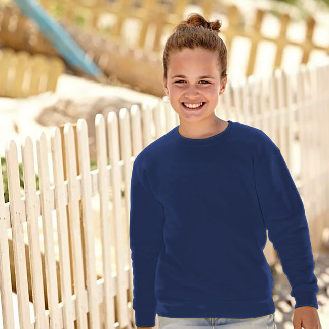 Himmelblau - Back - Fruit Of The Loom Kinder Unisex Pullover Klassik 80-20