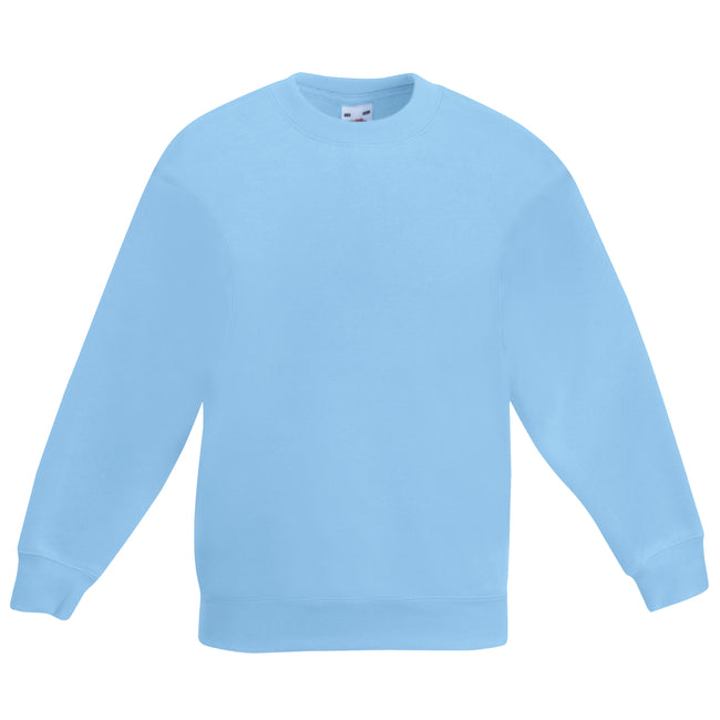Flaschengrün - Front - Fruit Of The Loom Kinder Unisex Pullover Klassik 80-20