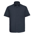 Marineblau - Front - Russel Collection Herren Twill Hemd, Kurzarm