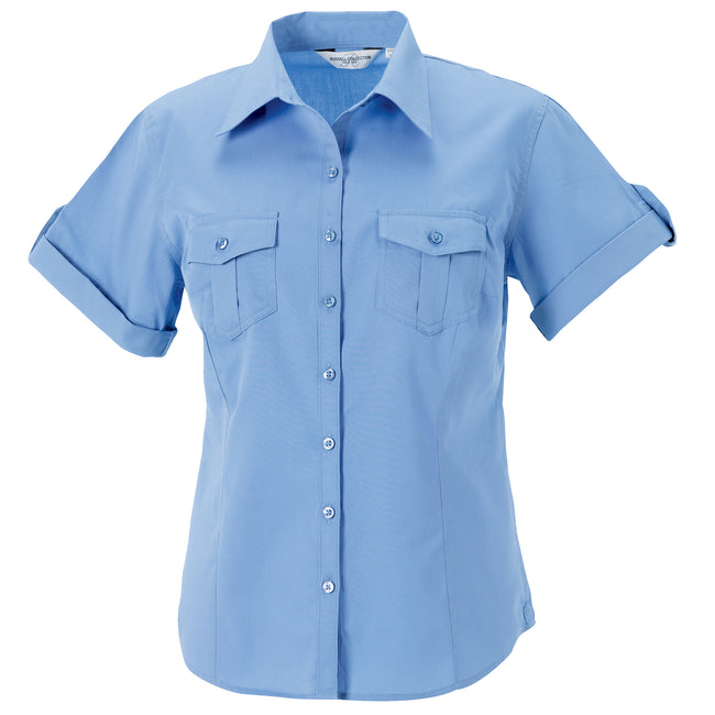 Blau - Front - Russell Collection Damen Hemd - Bluse, Kurzarm