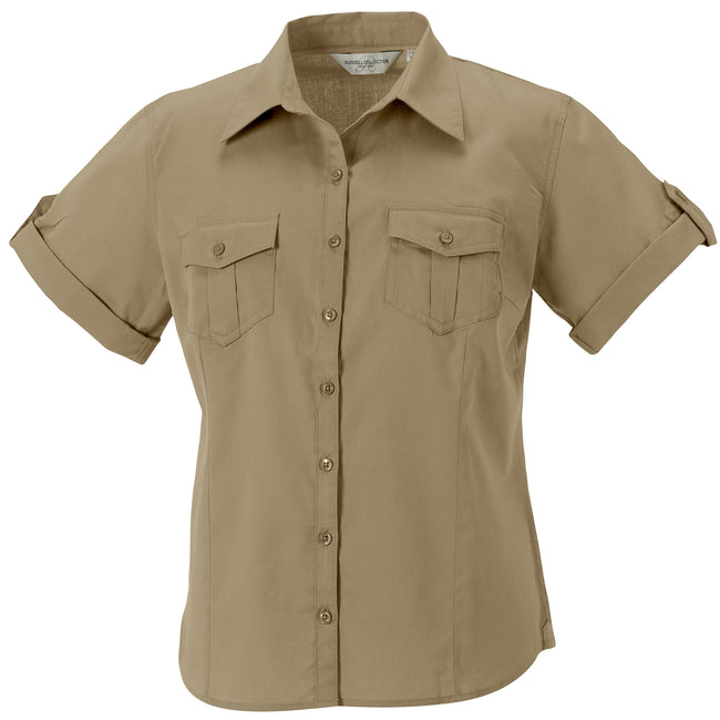 Khaki - Front - Russell Collection Damen Hemd - Bluse, Kurzarm