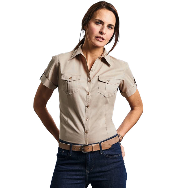 Khaki - Back - Russell Collection Damen Hemd - Bluse, Kurzarm